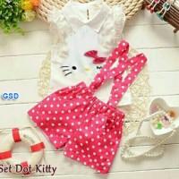 Baju Setelan Funky Anak Perempuan/Cewek - setelan polkadot kitty