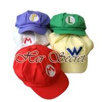 Topi Luigi Mario Wario Waluigi White Racoon Cosplay Baseball Cap Hat