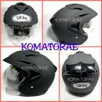 harga Helm Hiu Arrow Solid Black Doff Double Visor Half Face Tokopedia.com