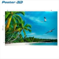 Poster 3D PEMANDANGAN PANTAI TROPIS #3D137 - size 38 x 58 cm