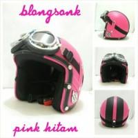 Helm Bogo Retro SNI Kulit Blongsonk Pink Hitam + Kacamata Chrome