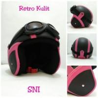 Helm Bogo Retro Kulit Classic SNI Pink Hitam + Kacamata
