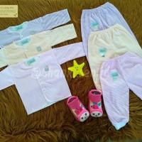 Setelan Baju Bayi Panjang Shankusen motif garis perempuan 3 pasang