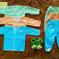 Jual Setelan Baju Bayi Panjang Shankusen polkadot dasar warna cowo 3 pasang Murah