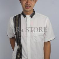 Baju Koko Lelaki Putih Color Motif Stripe Bermerk/Formal/Model
