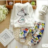 Set Snoopy White Kid Baju anak anak cowok Baju Setelan Anak