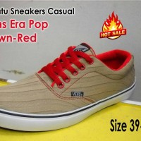 Sepatu Sneakers Casual Vans Era Pop Brown Red Keren
