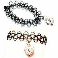 Jual Gelang Tattoo Choker Black - Silver Love (Bracelet) Murah