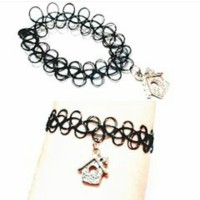 Jual Gelang Tattoo Choker Black - Silver House (Bracelet) Murah
