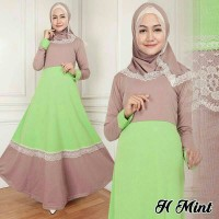 Gamis Hijab Mint Setelan Muslimah 2IN1 Maxidress Hijabers Cantik A087