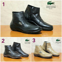 Sepatu Boots Pria Crocodile Zipper Boots Kulit Asli GRATIS 1KAOS KAKI