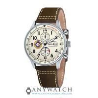 AVI-8 Man Hawker Hurricane Watch Cream Dial Brown Leather AV-4011-04