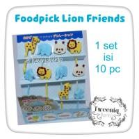 Foodpick Lion Friend tusukan bento garpu buah hiasan bekal motif hewan