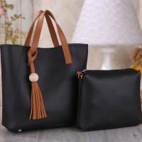 Tas Wanita Import N25106 Black 2in1 Bag Handbag Casual Fringe Zara