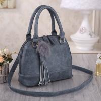Tas Wanita Import N25100 Gray Handbag Pom Pom Fringe Rumbai Korea Zara