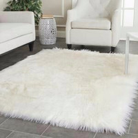 Jual karpet bulu korea / kain bulu putih korea berkwalitas uk.100x130cm Murah