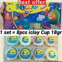 Jual 8pcs iclay Cup 18gr per set, Amos i-clay clay slime, mainan edukatif Murah