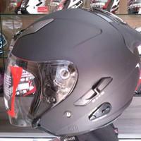 Helm KYT Forever Half Face Double Visor Black Doff Dop Solid