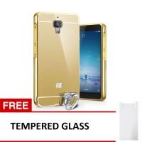 Case For xiaomi Mi4i/Mi4c Bumper Chrome With Mirror - Gold + Tempered