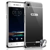Case For Oppo F1 / Selfie Expert Bumper Chrome With Backcase Mirror