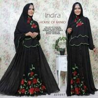 busana muslim baju pesta maxi dress gamis bergo khimar hitam brokat