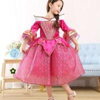 Baju Anak Dress Kostum Princess Aurora Pink Motif