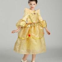 Dress Kostum Gaun Princess Belle Kuning Emas (Beauty and The Beast)