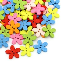 Kancing Kayu Scrapbook Bunga Warna Warni