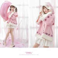 Jaket Wanita Fury Cat Cape Coat Japan Korean Style Cute Lucu Bulu