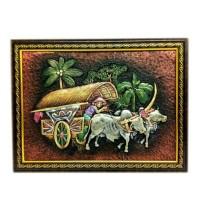 TERMURAH! Lukisan Timbul Gambar Petani dan Kereta Sapi Kode 009 Jogja