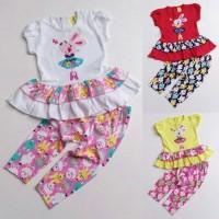 Baju Setelan Anak Bayi Perempuan Kaos Kelinci Balerina Celana Leging