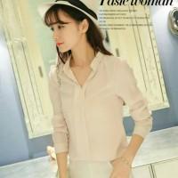 Tamochi Kemeja minimalis V-Neck BL3141 Soft pink