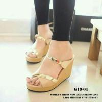 SALE Sandal Sepatu Wedges Pesta G19 Cream bukan Zara Yongki Fladeo