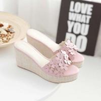 NEW Sandal Sepatu Wedges FS Bunga Pink bukan Yongki Zara Lv Fladeo