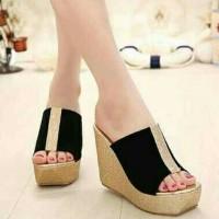 MURAH!! Sepatu Sandal Wedges FS Strip Gold Bukan Yongki Nevada LV