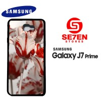Casing HP Samsung J7 Prime White Red Tulips Custom Hardcase Cover