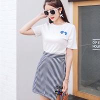Setelan Wanita Mix SET Top+Skirt WHITE BLACK Import H315170