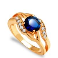 Cincin Emas 18k Batu Berlian Imitasi Biru (Perhiasan Wanita) - BR049