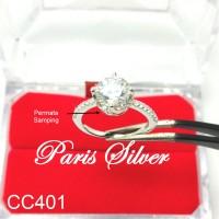 Cincin tunangan permata silver perak 925 kawin lamaran berlian nikah