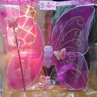 Kostum mainan anak peri sayap kupu kupu bando tongkat angel karnaval