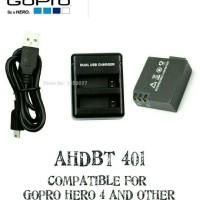 KABEL DATA CHARGER DESKTOP BATTERY AHDBT 401 GOPRO HERO 4 BLACK SILVER