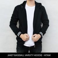 Jual Jaket Polos Baseball Varsity Hoodie - Hitam Murah