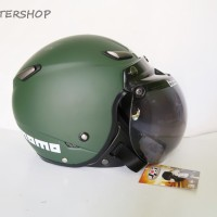 Helm Bogo JPN Momo Vintage Retro Klasik Green Army Doff + Kaca Bogo