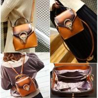 Tas Shoulder Bag Ransel Wanita Brown Impor Coklat Cantik Elegan Korea