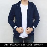 Jual Jaket Polos Baseball Varsity Hoodie - Biru Navy Murah
