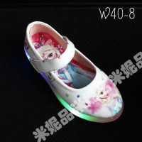Sepatu LAMPU LED anak princess frozen elsa flat putih IMPORT shoes