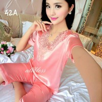 Baju Tidur Luxury Lotus Flower Feminin Sexy Piyama Seserahan 42