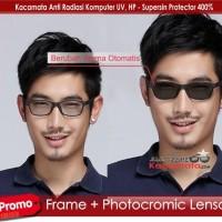 Jual Frame Kacamata Korea Hitam Tag Heuer + Lensa Minus Photogrey Murah