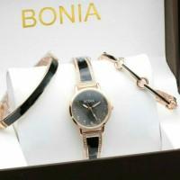 Jam Tangan Fashion Wanita Bonia Set Gelang 04 Black