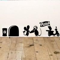 Wall Stiker Hiasan Dinding Laptop Tikus Pizza Delivery Decal Closet Cu